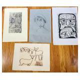 4 pcs. Original Etching Prints
