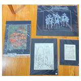 4 pcs. Original Aase Vaslow Etching Prints