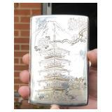 Sterling (.950) cigarette case, Mt. Fuji Japan