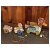 (3) Vintage duck pull toys