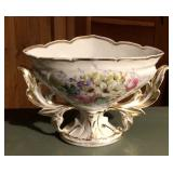 Rare Victorian era center piece bowl, hand painted