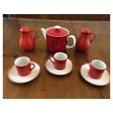 9 pcs Marlow Red & White Tea set