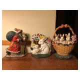 3 pcs Cast Iron Door Stops, Santa, Easter