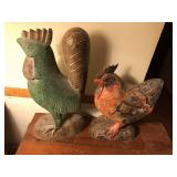 Pair of wood Chickens