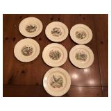 7pcs S. C. Richard ca. 1934 bird Plates china