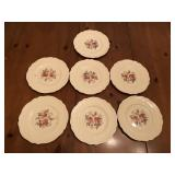 7 Early Old Staffordshire Rose pattern china plate