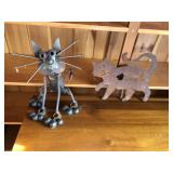 Pair of metal cats, Folk Art, & weather vein top