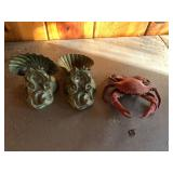 3 pcs, cast iron crab & bookends