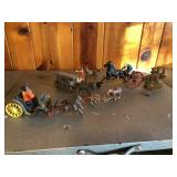 Lot of Cast Iron Horse & Buggy figures