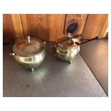 Pair of brass smelting pots with ladels