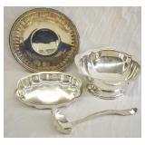 4 pcs. Silver Plate Punch Bowl & Plates