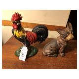 Pair of Cast Iron pcs.  Dog Bank, & Rooster door s