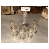 Crystal decanter set w/shot glasses