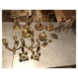 Large lot of brass décor, candle holders ++