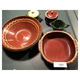 5pcs of Pottery, sugar, creamer, bowl, Hull ++