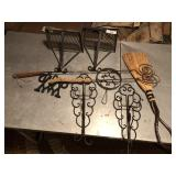 9pcs of early cast iron items & handmade broom