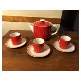 7 pcs Marlow Red & White Tea set