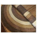 Dining room round rug, woven pattern nutral colors