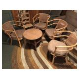 6pcs vintage Bamboo & Cane chairs & table
