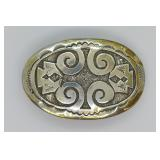 Sterling Silver Southwest Design Belt Buckle