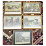 5 pcs. Antique Currier & Ives Prints