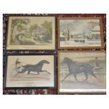 4 pcs. Antique Currier & Ives Prints