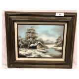 Original Oil on Canvas Winter scene signed