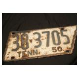 1950 Tennessee License Plate State Shaped