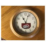 Wooden Battery Clock with Dr. Pepper Decal