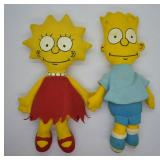 2 pcs. 1990 Bart & Lisa Simpson Plush Dolls