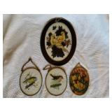4 pcs of vintage painted and stained glass items