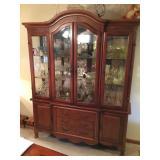 Burl walnut china cabinet w/ beveled glass