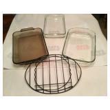 3 pcs 2x Pyrex & 1 Anchor Hocking casarole dish