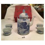 5pcs tea set cobalt blue