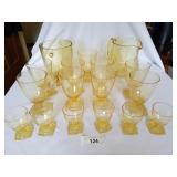 17 Pc Yellow Glass Pitcher, Ice Bucket & Glasses S