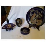 3 Cobalt Blue, 1 Black Japanese Pottery