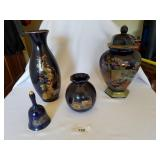 4 Cobalt Blue Japanese Pottery with Peacock Art