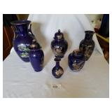 6 Cobalt Blue Japanese Pottery with Peacock Art