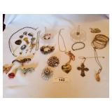 Large Lot of Costume Jewelry + 2 Ring Stands