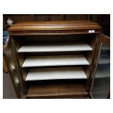 Wood Cabinet with Glass Doors, 3 Shelves, & Drawer