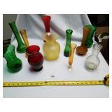 Lot of 12 Various Glass Vases-Vaseline Glass, Ruby