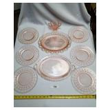 9 Pink Glass Pieces-6 Plates, 2 Serving Trays, 1 S