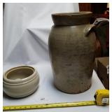 2 Large Pieces Handcrafted Stoneware Pottery-Urn &