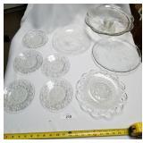 9 Piece Decorative Glass Plates & Saucers