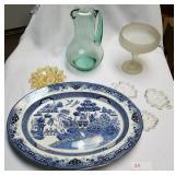 """""""Blue Willow"""" Platter & Glass Lot"""