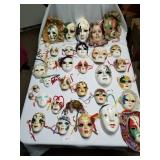 Lot of 34 Ceramic Mardi Gra Type Masks