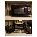 Lot of Kitchen Items-Microwave, Toaster Oven, Knif