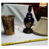 Blue Cobalt Lamp w/Peacock & Chinese Vase