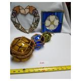 2 Hanging Stained Glass Art Items & Hanging Decora