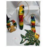 4 Decorative Pieces-3 Parrots, 1 Fish